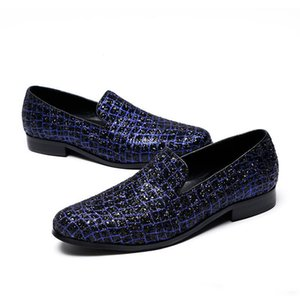 2020 Blue Glistening Glitter Men Loafers Sequins Slippers Slip-on male paty prom shoes Wedding Mens Dress Genuine Leather Flats Shoes