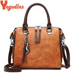 Yogodlns Vintage Cat Tassel Luxus Handtasche Frauen Taschen Doppelreißverschluss Umhängetaschen Umhängetasche Casual Shell Tote Ladie J190614