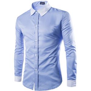 Moda Uomo Camicia Nera Bianca lungo maniche Top Three fibbia design semplice colore del vestito Mens dimagriscono le camice della camicia degli uomini
