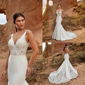 Eddy K Mermaid Wedding Dresses 2020 V Neck Lace Bohemian Wedding Gowns Summer Backless vestido de novia