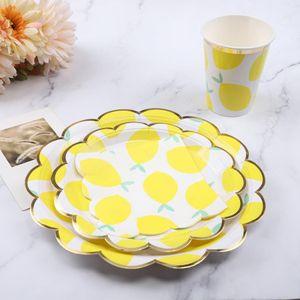 Descartável Dinnerware Set bonito da festa de aniversário Lemon Fruit temáticos casamento descartável copo de papel Placa de Guardanapo Louça Set