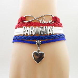 Bracelet Infinity Love au Paraguay avec pendentif coeur Drapeau du Paraguay Bracelets Bracelets