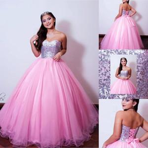 Quinceanera 드레스 공 가운 2020 Strapless Sweet 16 Prom Dresses 스팽글 레이스 레이스 Top Debutante 가운 플러스 사이즈 Vestidos DE 15