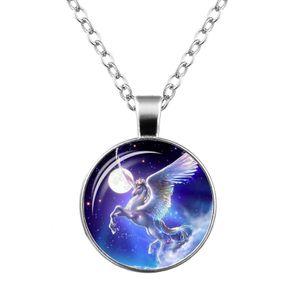 Ожерелья Unicorn Time Gemstone Ожерелье Стекло Кулон Ожерелье