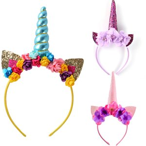 Presente mágico Headwear aniversário Headband Fancy Dress Partido Adulto Crianças Flor bonito chifre