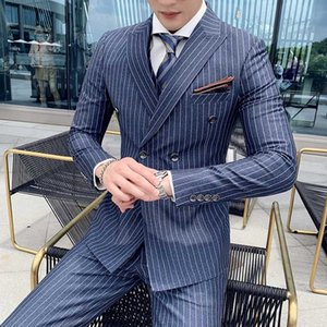 Plyesxale Black Grey Navy Blue Stripe Men Suit 3 Piece Double Breasted Mens Wedding Suits Elegant Formal Business Suit Male Q681