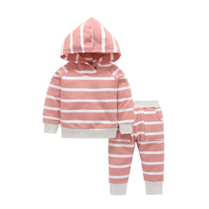 Baby girl clothes 2019 new spring and autumn baby girl pink striped hooded long-sleeved sweater + pants two-piece suit