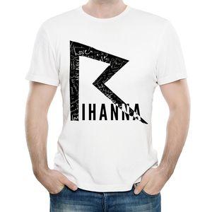 Rihanna Camiseta de Color Blanco Unisex Moda de Manga Corta Logotipo de Rihanna Camiseta Tops Camisetas Camiseta de Banda Para Hombres Mujeres C19041501