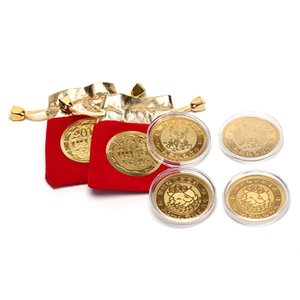 2019 Cartoon Pig Gold Plated Fortune Lucky Coin Year Of Pig Coins With Drawstring Velvet Bag New Year Gift Jewery Display Decor