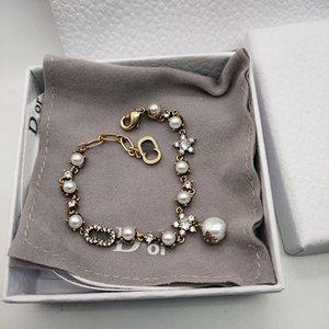Pearl bracelet female D fashion brand CD letter bracelet female classic diamond little star