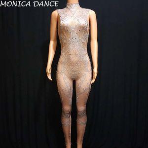 Sparkly Pedras de vidro Léotard Jumpsuit Prata Pedrinhas estiramento Bodysuit Prom Party Mulheres Cantor Costume Nightclub brilhando Ir