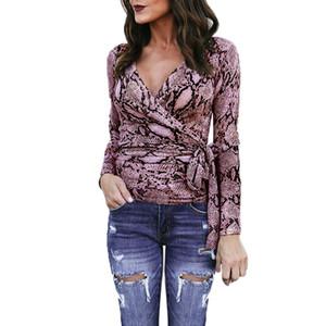 Yüksek Kalite Bayan Seksi Bluz V Yaka Uzun Kollu Yılan Baskı Bayanlar Moda Casual Bandaj Wrap Top Gömlek No14 Tops