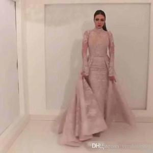 Yousef aljasmi Vestidos de noche Corte tren Overskirt Vestidos de Oriente Medio ropa de noche 2018 Labourjoisie Lace prom dress
