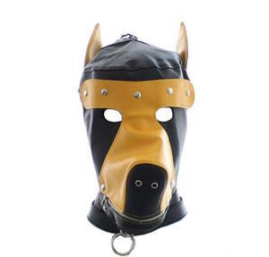 El nuevo diseño bozales perro de la forma del cuero completamente cerrado Reposacabezas Sombrero con la cremallera Capucha Máscara Bondage Sexo Máscaras juguetes SM Juegos freeship