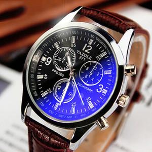 Leather Herren Analog Quarts Uhren Blue Ray-Mann-Armbanduhr Herrenuhr Beiläufiges Geschäft Urban Fashion-Uhr-Taktgeber Günstige