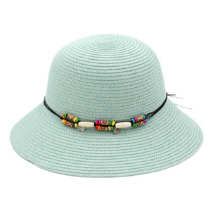Foldable Women's Ladies Straw Cloche Hat Summer Beach Sun Protection Outdoor Bowler Cap Wood Beading Hatband