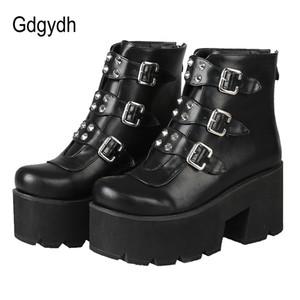 Gdgydh atractivo del remache de las mujeres del tobillo cargadores de la plataforma de los altos talones gruesos del talón Negro gótico botas de cuero Señora nave de la gota del tamaño grande de 46 T200425