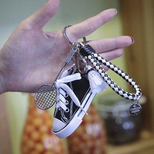 Designer Keyring TikTok Car Leg Shoes Creative Student Bag Keychain Canvas Sneakers Pendant Couple Sports Phone Chain Gift