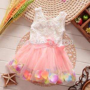 Freies Verschiffen-nette Kind-Mädchen-Prinzessin Rose Flower Petal Bow Kleid Sommer Spitze ärmellose Tüll-Kleid-Kind-Mädchen-Kleidung Hot