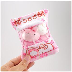 Bag of Chicken Bunny Rabbit Pudding Plush Keychain Toys Kawaii Yellow Chicken Rabbits Animals Snack Dolls Key Bag Pendants 10pcs