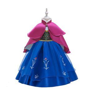Snow Queen Costume Bébés filles robe princesse pour fille robe de bal Fleur Robe imprimée + Cape 2pcs / set Vêtements enfants M865