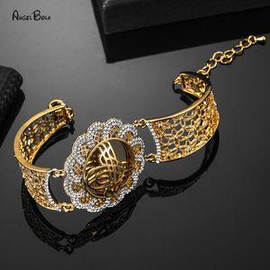 Braccialetti di gioielli musulmani di lusso di lusso del braccialetto del braccialetto del braccialetto del fascino arabo per le donne del regalo di nozze di colore dell'oro dell'annata delle donne