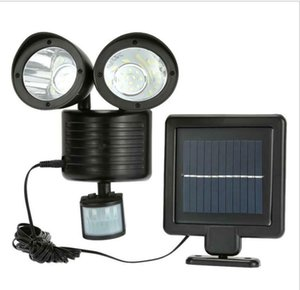 22LED Double Head Wall Solar Lights PIR Motion sensor waterproof Detection Lamp Energy Saving Street Yard Home Garden Decal