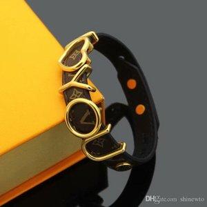Горячие Продажа Brand Названный Браслеты Lady Print Flower V Письмо дизайн кожаный браслет браслет с 18k покрытием золото выдалбливают Я тебя люблю Письмо
