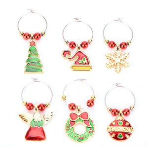 6 Pack Chirstmas Wine Glass Christmas Decorations Festive & Party Supplies Charms Rings Wine Glass Markers for Xmas Party Bar Table Decorati