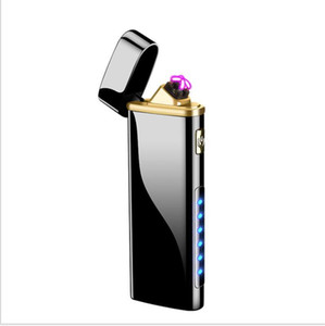 Double arcs Lighter Electric Rechargeable windproof inductive sensor switch power display USB smoking lighter for cigarette glass pipe