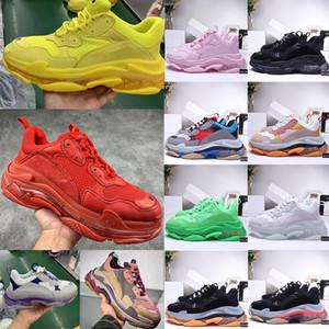 Nova Triple S 17FW calçados casuais vermelho verde amarelo preto Limpar Dad Kanye Sole Vintage Shoes Retro Homens Mulheres Designer Platform Clunky Sneakers