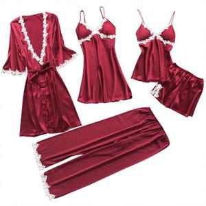 Desgaste de dormir Set raso Pijama Hogar de seda pijamas de las mujeres 5pcs bordado del sueño Salón de pijama con el pecho de pijama Pads Femme 2020