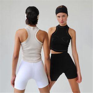 Las mujeres sin mangas de la camiseta atractiva de moda de punto acanalado delgado sin mangas de la hembra del verano de la manera tapas Negro albaricoque atractivo de cultivos Tops Camisas Ropa