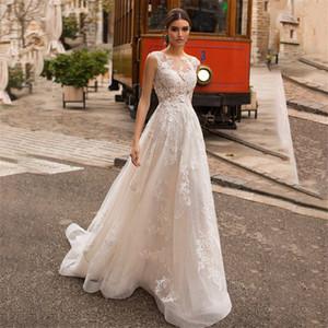 Scoop шеи Кружева Аппликации A-Line Свадебные платья с кнопками Назад Свадебные платья Cap рукавов на заказ Robe De mariée Spring