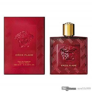 Parfum pour homme Eros flamme rouge et une bouteille en verre bleu grande capacité d'eau 100ml / 3,4 oz Livraison rapide