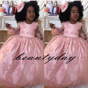 말하는 Mhamad 블러셔 핑크 공주 웨딩 플라워 걸스 드레스 긴팔 부푼 투투 2019 유아 Little Girls Pageant Communion Dress