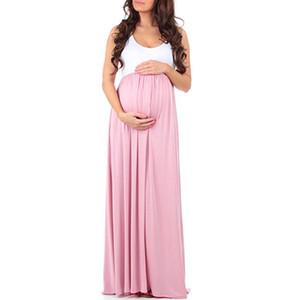 2018 женские беременные платья женщины sleevelss твердые шифон макси платье материнства платье фотографии реквизит длинные свободные платья