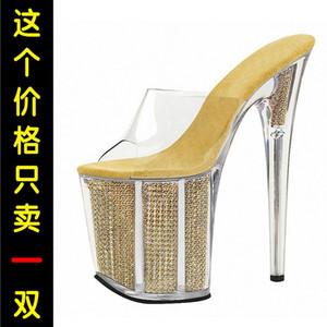 Fascinating2019 Super 20cm Day Flange impermeabili alte di alta qualità Cristallo trasparente Una parola con pantofola fresca Codificherà le scarpe da donna