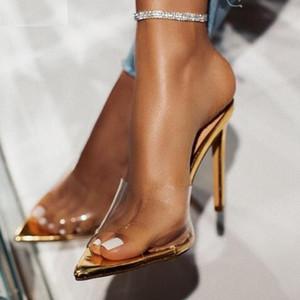 Kcenid PVC de la manera zapatos de los deslizadores de las mujeres transparentes atractivas del verano los altos talones de los deslizadores de las mujeres de oro al aire libre de las mujeres del partido mulas de diapositivas