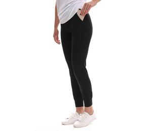 LU-35 hizalayın Nü Fırçalı Marka Yoga Pantolon Düz Kadın Hızlı kuruyan kırpılmış pantolon egzersiz Gym Dans Stüdyosu Marka Pantolon Koyu renk Loose
