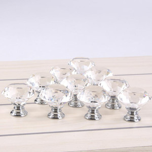 Clear 30mm Diamond Shape Design Crystal Glass Door Knobs Cupboard Drawer Cabinet Wardrobe Pull Handle Knobs LX1820