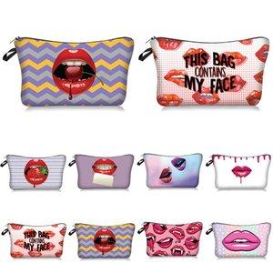 Sexy Beutel Organizer Kultur Werkzeug Cosmetic Bag Red Lip 3D-Drucken-Verfassungs-Beutel mit Multicolor-Muster Kosmetikerin Für Reisen