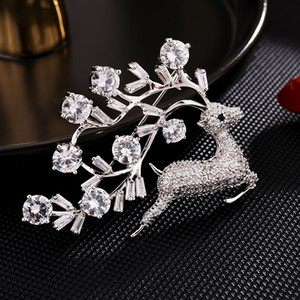 Exquisite Small Deer Zircon Brooch Shine Sika Deer Copper Corsage Luxury Coat Dress Decorative Buckle Pin Brooches