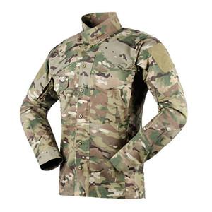 Hombres táctico del camuflaje de manga larga camisa de combate deporte al aire libre de secado rápido Senderismo Ciclismo cremallera Outwear la ropa Tops