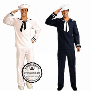 Halloween men's sailor suit Stage clothing anduniform Navy stage costume party White blue Navy uniform