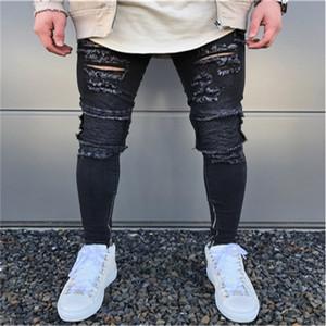 Moda masculina Micro-bomba Fino Motociclista Jeans Hip Hop Lavado Jeans Rasgado Designer Zipper Preto Jean