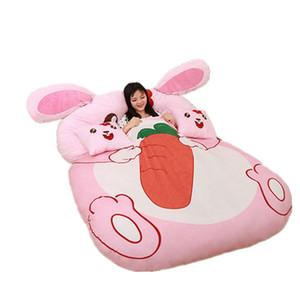 Dorimytrader Kawaii мультфильм розовый кролик погремушка мягкий плюш кролик кровать диван матрас ковер татами украшения для девочки подарок DY60848