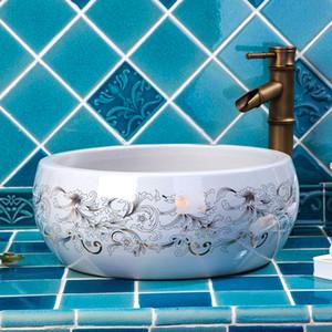 Europe style chinese wash basin Jingdezhen Art Counter Top ceramic basin sink ceramic washing basin shampoo