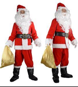 Deluxe Santa Claus Christmas dress ball men's show dress adult plant velvet suit prom