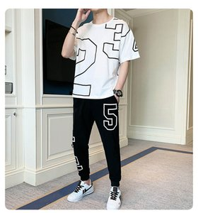 Men's Exercise & Fitness Clothing 2020 Fashion New Mens Casual T-Shirt + Long Pants Two-piece Suit Male Active Thin Tracksuits Size M-4XL